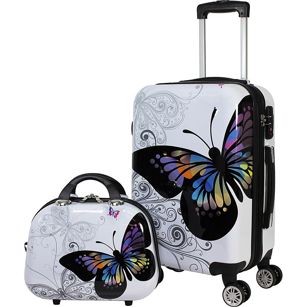 World Traveler Butterfly 2-piece Hardside Carry-On Spinner Luggage Set Butterfly - World Traveler Luggage Sets - Luggage, Luggage Sets