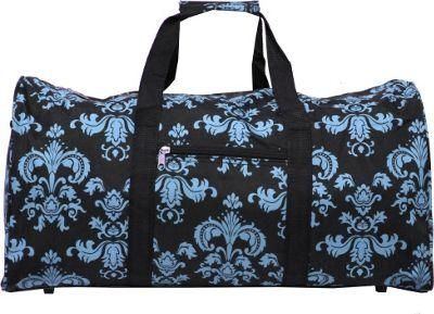 World Traveler Damask ll 22 inch Lightweight Duffle Bag Black Blue Damask ll - World Traveler Rolling Duffels