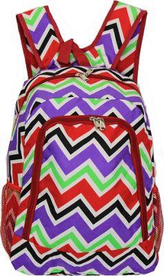 World Traveler Chevron Multi 16 inch Multipurpose Backpack Red Trim Chevron Multi - World Traveler Everyday Backpacks