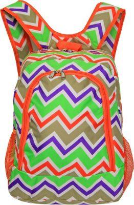 World Traveler Chevron Multi 16 inch Multipurpose Backpack Orange Trim Chevron Multi - World Traveler Everyday Backpacks
