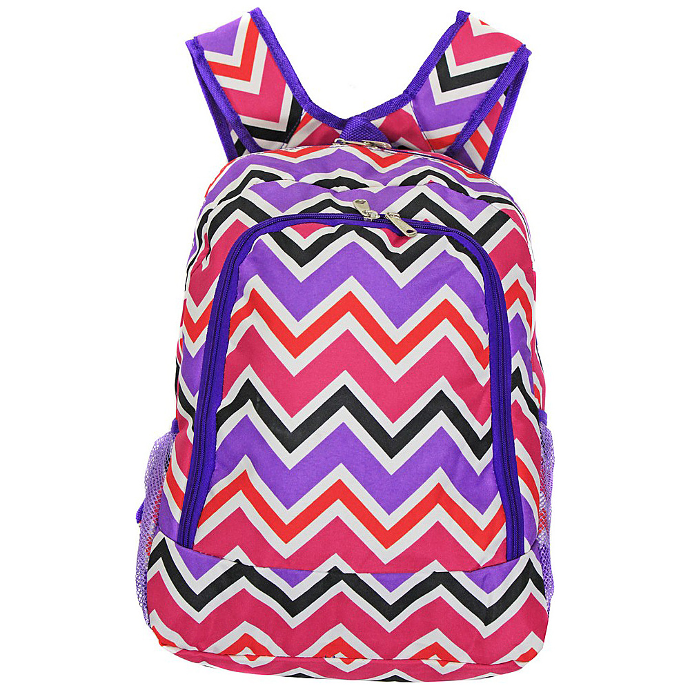 World Traveler Chevron Multi 16 Multipurpose Backpack Purple Trim Chevron Multi World Traveler Everyday Backpacks
