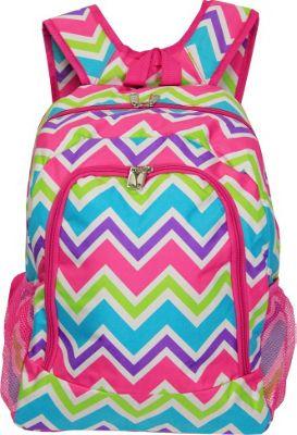 World Traveler Chevron Multi 16 inch Multipurpose Backpack Pink Trim Chevron Multi - World Traveler Everyday Backpacks
