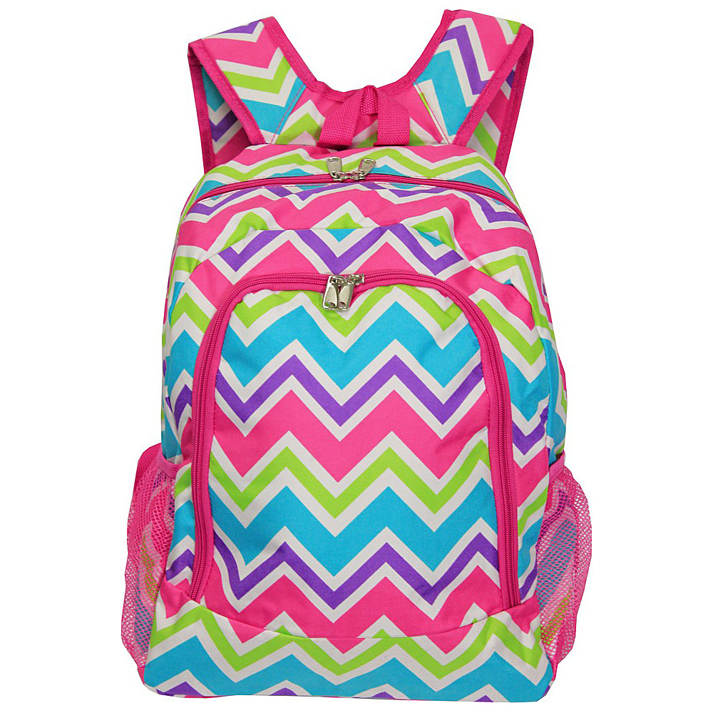 World Traveler Chevron Multi 16 Multipurpose Backpack Pink Trim Chevron Multi World Traveler Everyday Backpacks