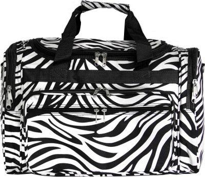 World Traveler Zebra 19 inch Shoulder Duffle Bag Black Trim Zebra - World Traveler Rolling Duffels