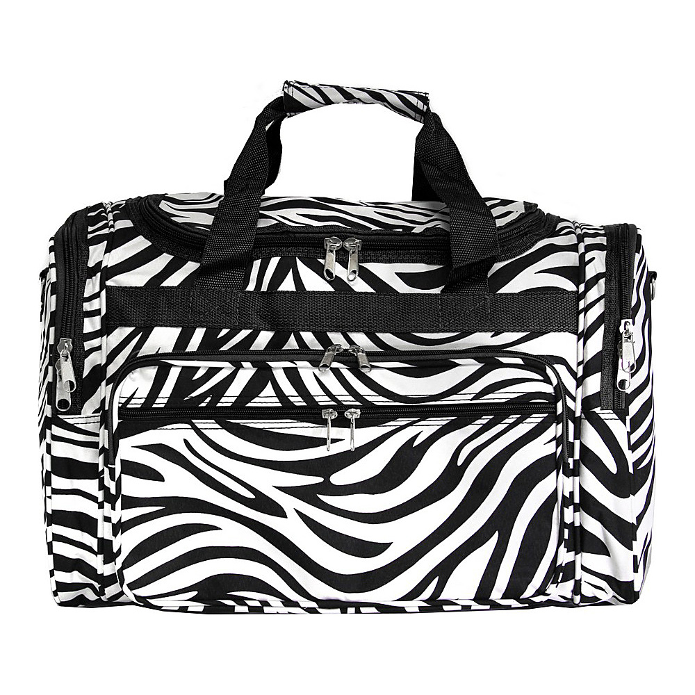 World Traveler Zebra 19 Shoulder Duffle Bag Black Trim Zebra World Traveler Rolling Duffels
