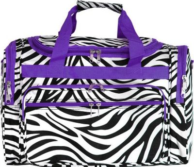 World Traveler Zebra 19 inch Shoulder Duffle Bag Dark Purple Trim Zebra - World Traveler Rolling Duffels