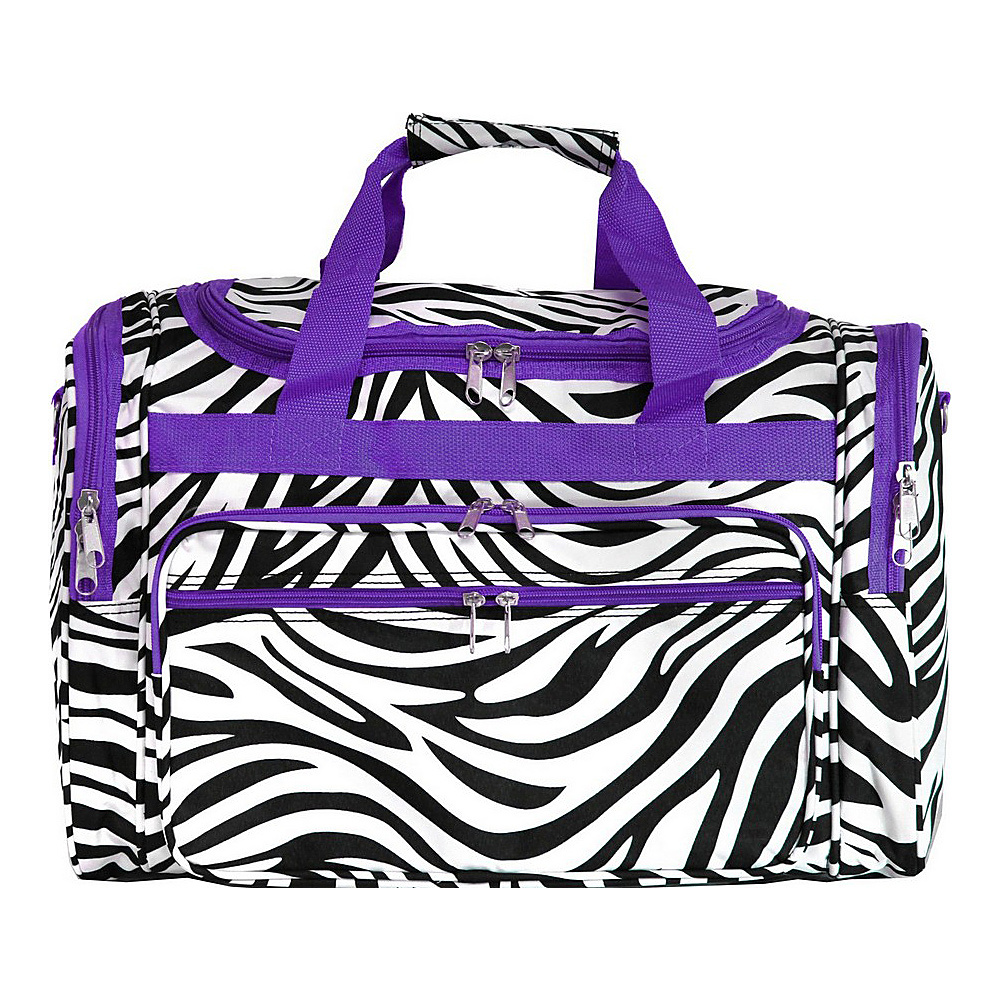 World Traveler Zebra 19 Shoulder Duffle Bag Dark Purple Trim Zebra World Traveler Rolling Duffels