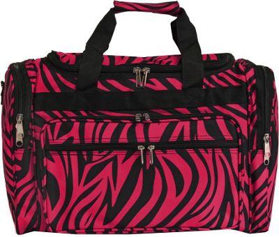 World Traveler Zebra 19 inch Shoulder Duffle Bag Fuchsia Black Zebra - World Traveler Rolling Duffels