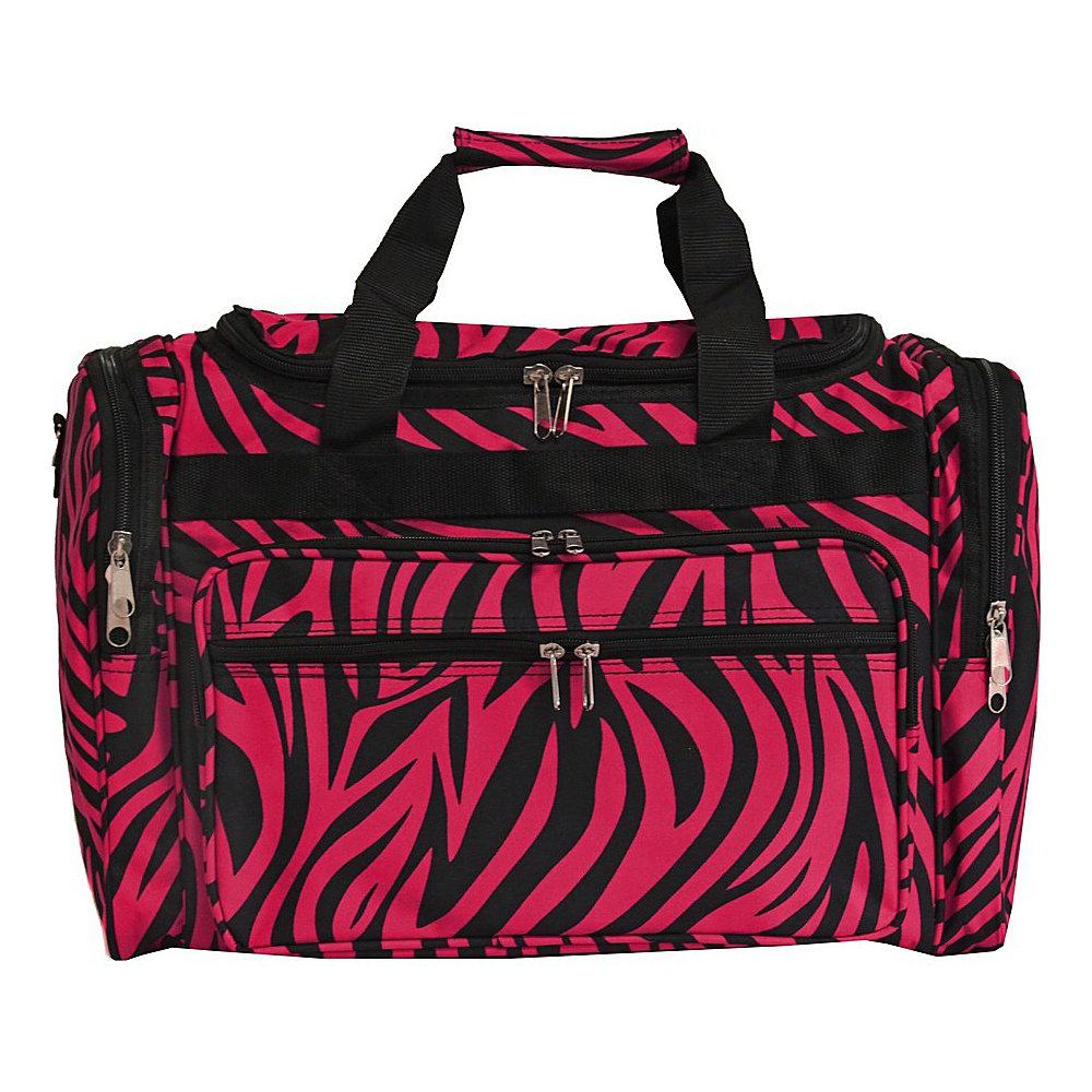 World Traveler Zebra 19 Shoulder Duffle Bag Fuchsia Black Zebra World Traveler Rolling Duffels