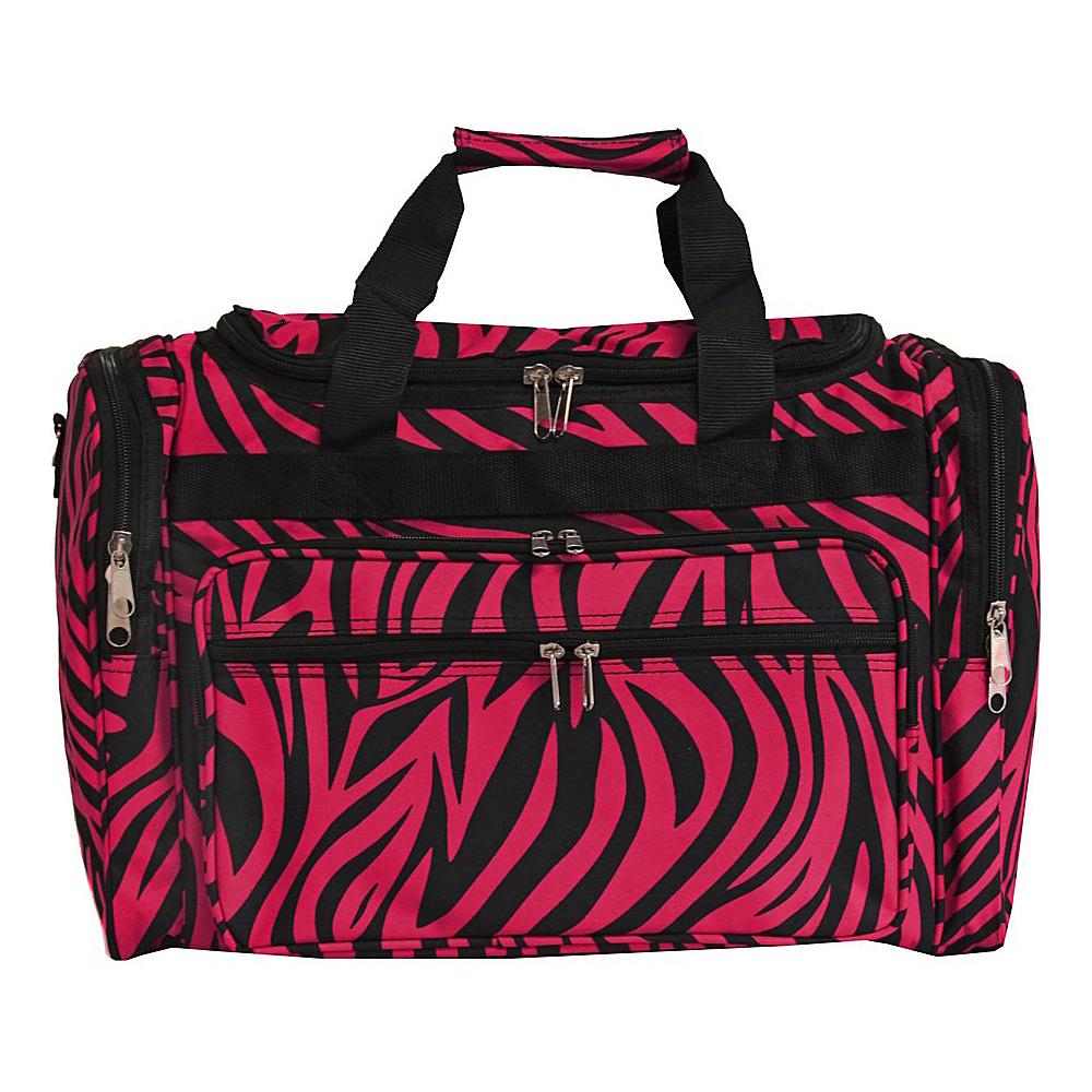 World Traveler Zebra 19 Shoulder Duffle Bag Fuchsia Black Zebra - World Traveler Rolling Duffels - Luggage, Rolling Duffels