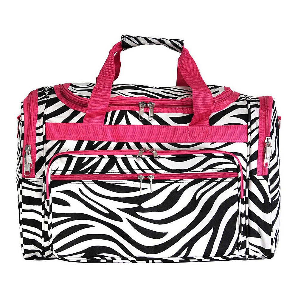 World Traveler Zebra 19 Shoulder Duffle Bag Pink Trim Zebra - World Traveler Rolling Duffels - Luggage, Rolling Duffels