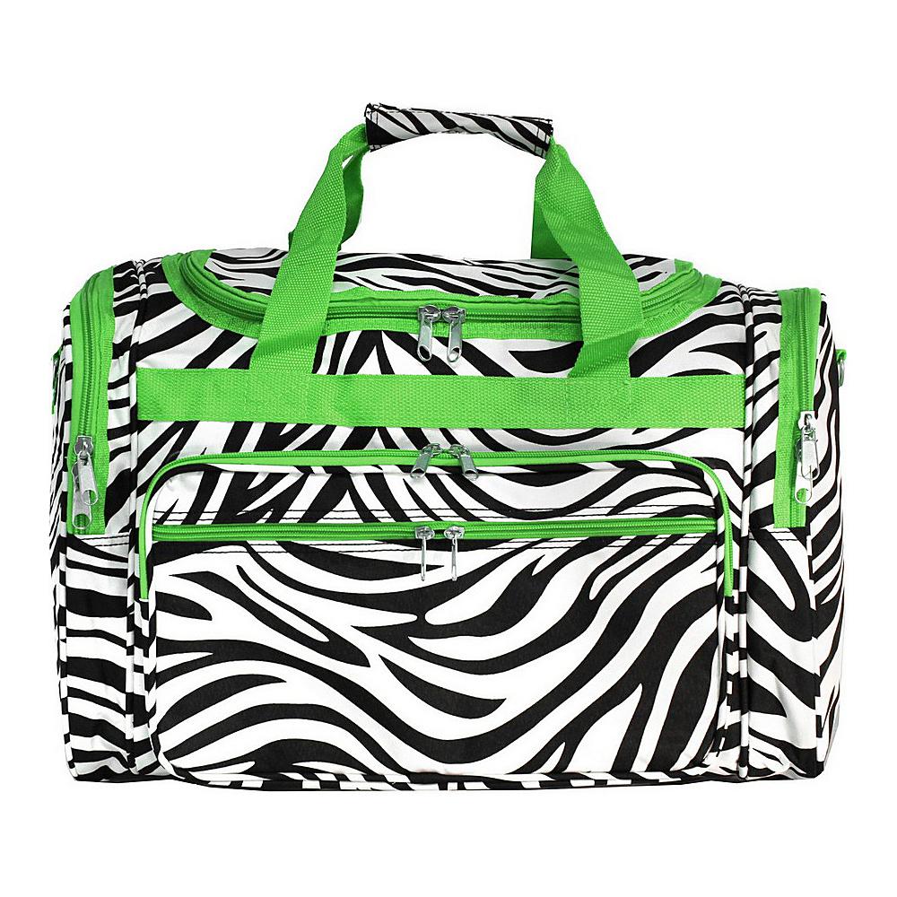 World Traveler Zebra 19 Shoulder Duffle Bag Green Trim Zebra - World Traveler Rolling Duffels - Luggage, Rolling Duffels