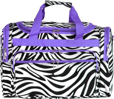 World Traveler Zebra 19 inch Shoulder Duffle Bag Light Purple Trim Zebra - World Traveler Rolling Duffels