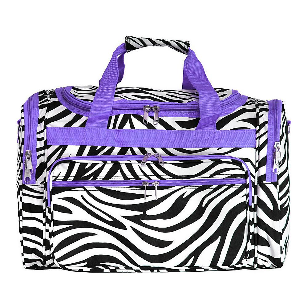 World Traveler Zebra 19 Shoulder Duffle Bag Light Purple Trim Zebra - World Traveler Rolling Duffels - Luggage, Rolling Duffels