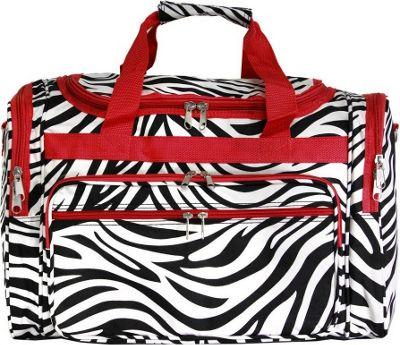 World Traveler Zebra 19 inch Shoulder Duffle Bag Red Trim Zebra - World Traveler Rolling Duffels