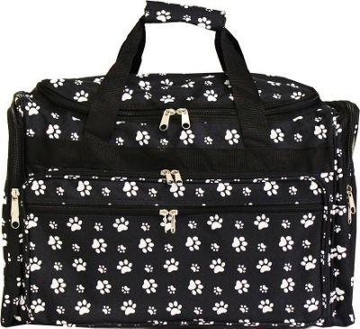 "World Traveler Paws 19"" Shoulder Duffle Bag Black White P..."