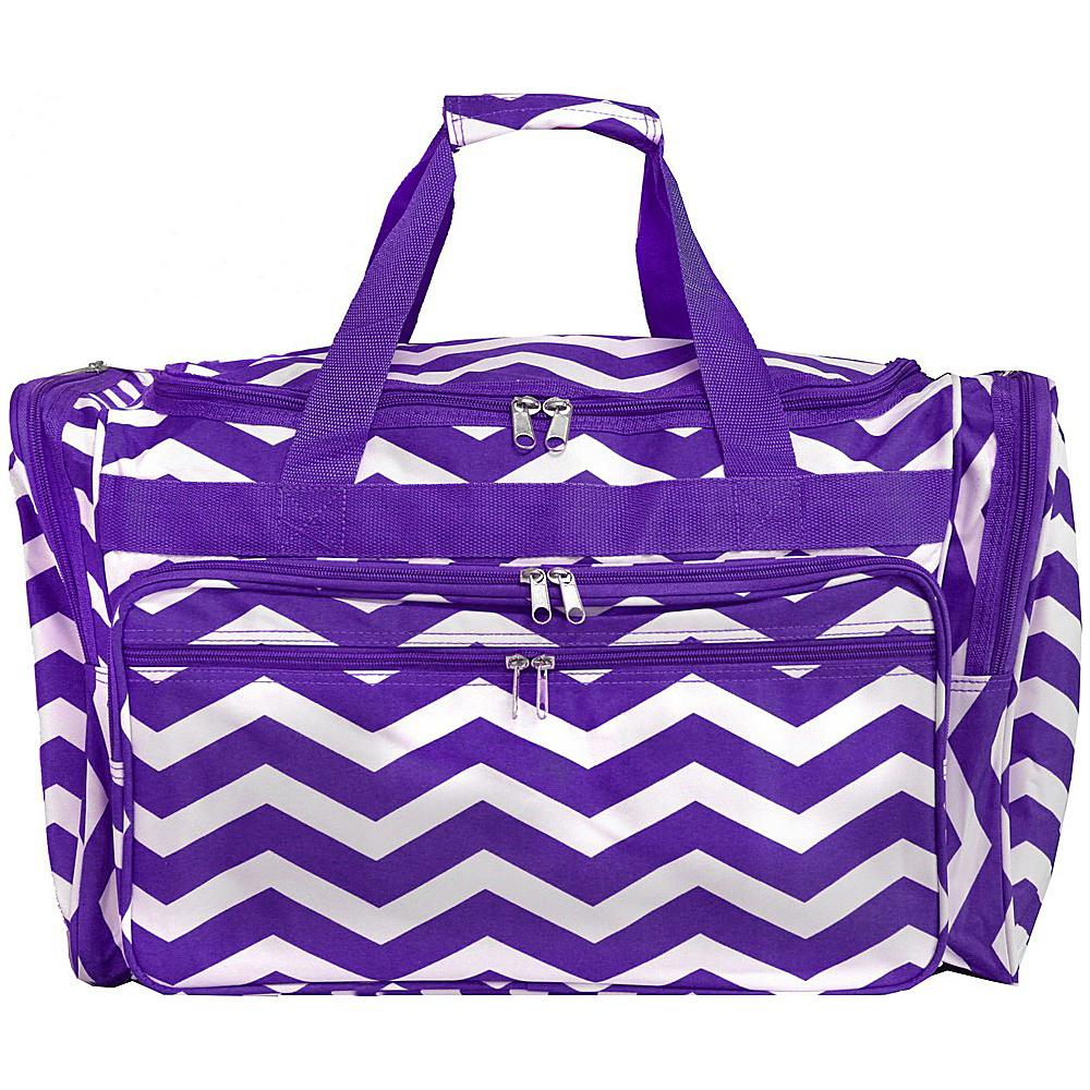 World Traveler Chevron 22 Travel Duffle Bag Purple White Chevron - World Traveler Rolling Duffels - Luggage, Rolling Duffels