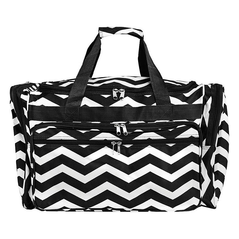 World Traveler Chevron 22 Travel Duffle Bag Black White Chevron - World Traveler Rolling Duffels - Luggage, Rolling Duffels