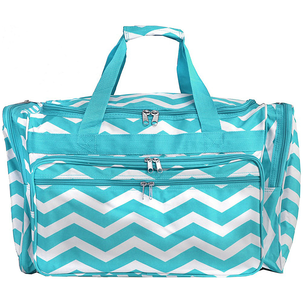 World Traveler Chevron 22 Travel Duffle Bag Blue White Chevron - World Traveler Rolling Duffels - Luggage, Rolling Duffels
