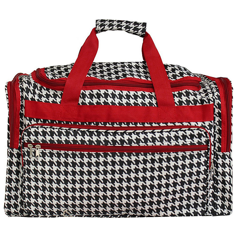 World Traveler Houndstooth 22 Travel Duffle Bag Red Trim Houndstooth - World Traveler Rolling Duffels - Luggage, Rolling Duffels
