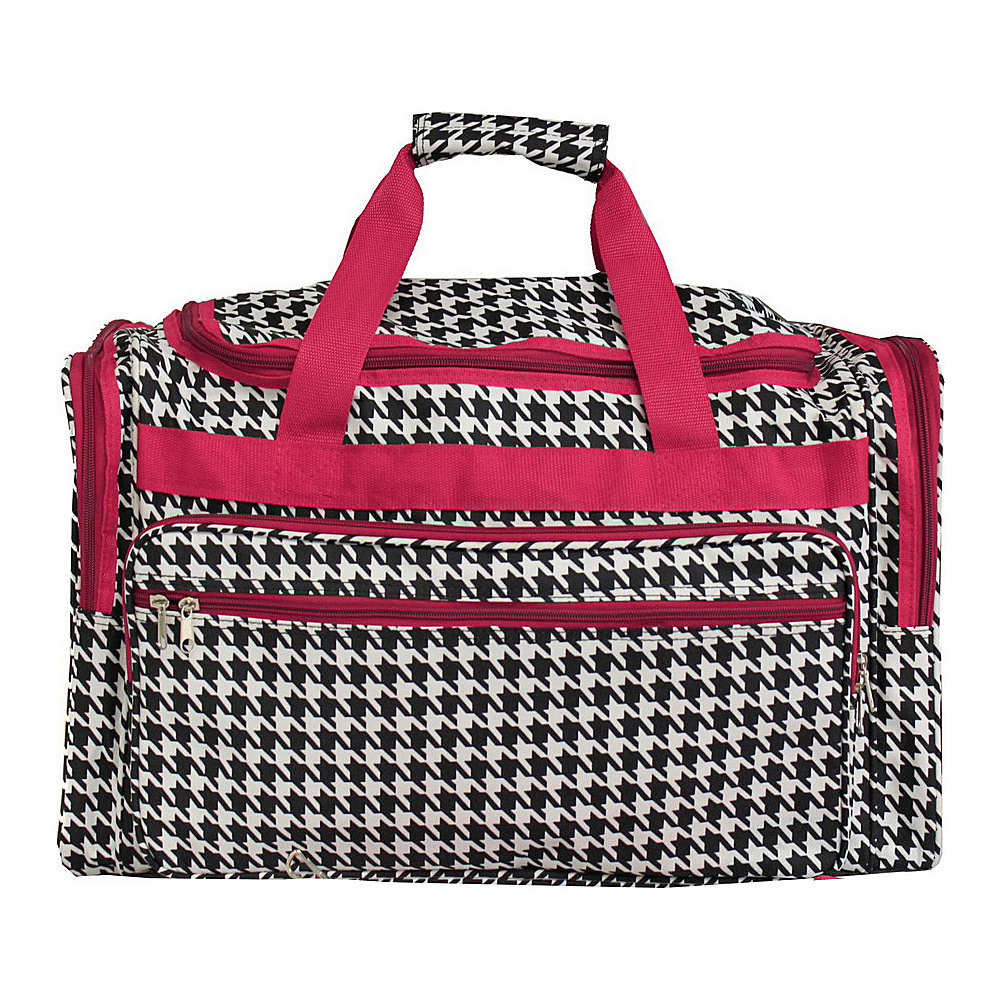 World Traveler Houndstooth 22 Travel Duffle Bag Fuchsia Trim Houndstooth - World Traveler Rolling Duffels - Luggage, Rolling Duffels