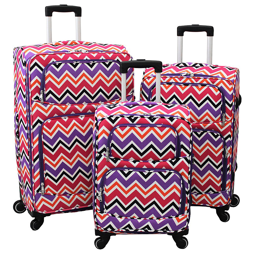 World Traveler Chevron Multi 3-Piece Expandable Upright Spinner Luggage Set Purple Trim Chevron Multi - World Traveler Luggage Sets - Luggage, Luggage Sets