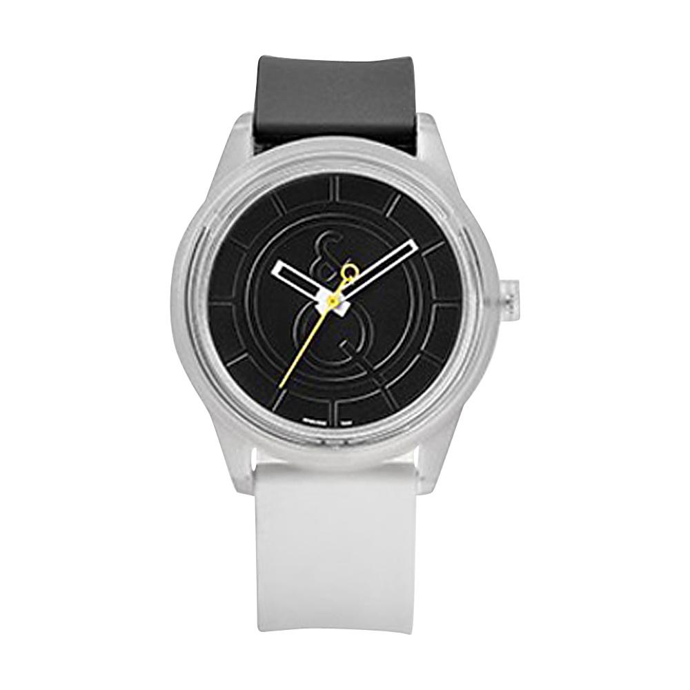 Q & Q Smile Solar Men's Sporty Colorblock Watch Black/White - Q & Q Smile Solar Watches