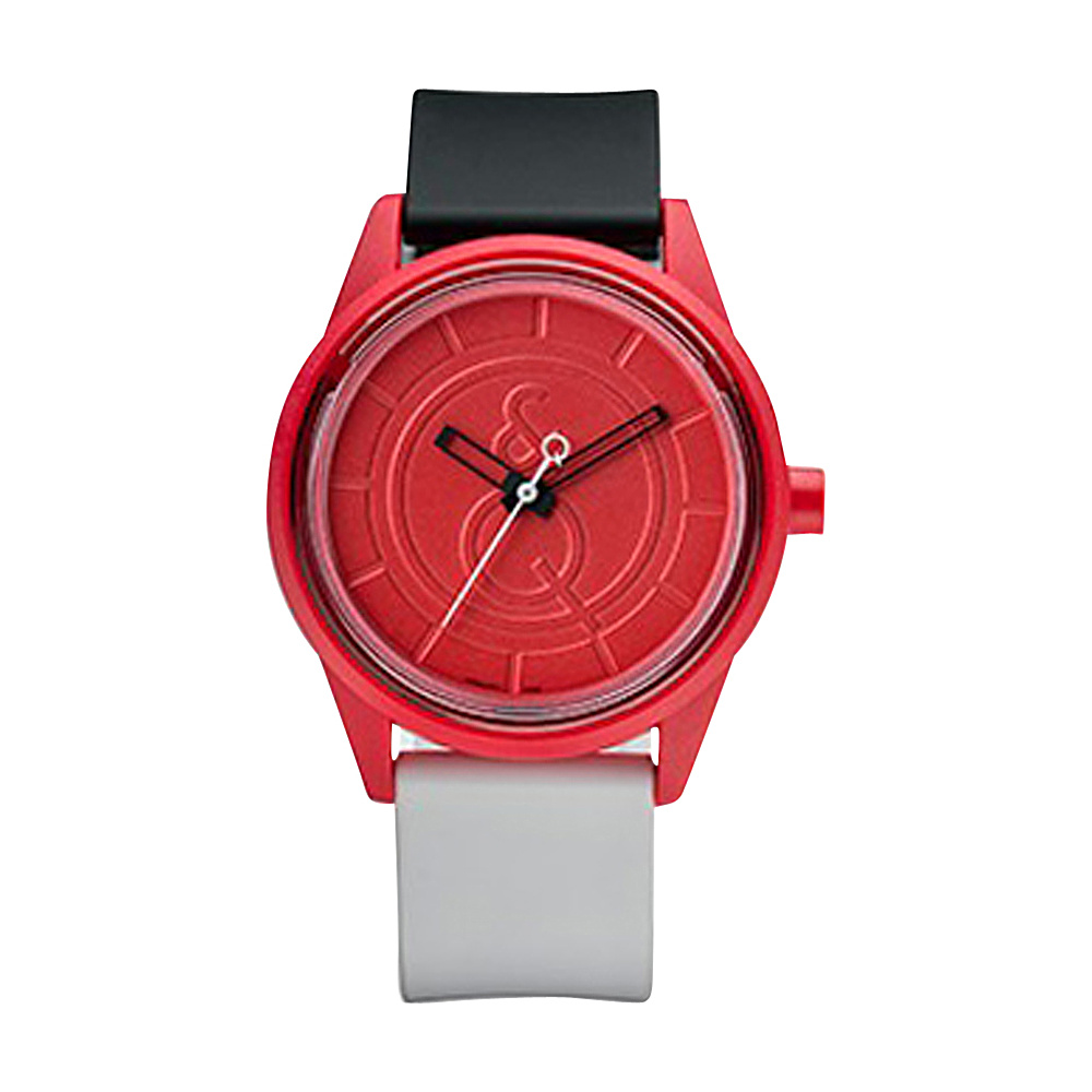 Q & Q Smile Solar Men's Sporty Colorblock Watch Black/Red - Q & Q Smile Solar Watches