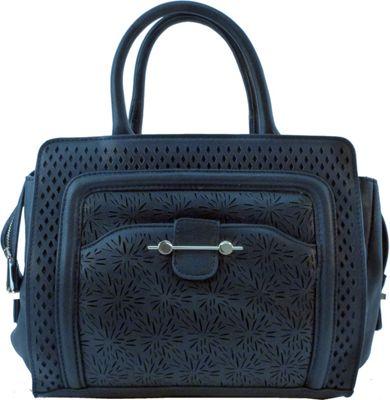 nu G Laser Cut Frame Satchel Black - nu G Manmade Handbags