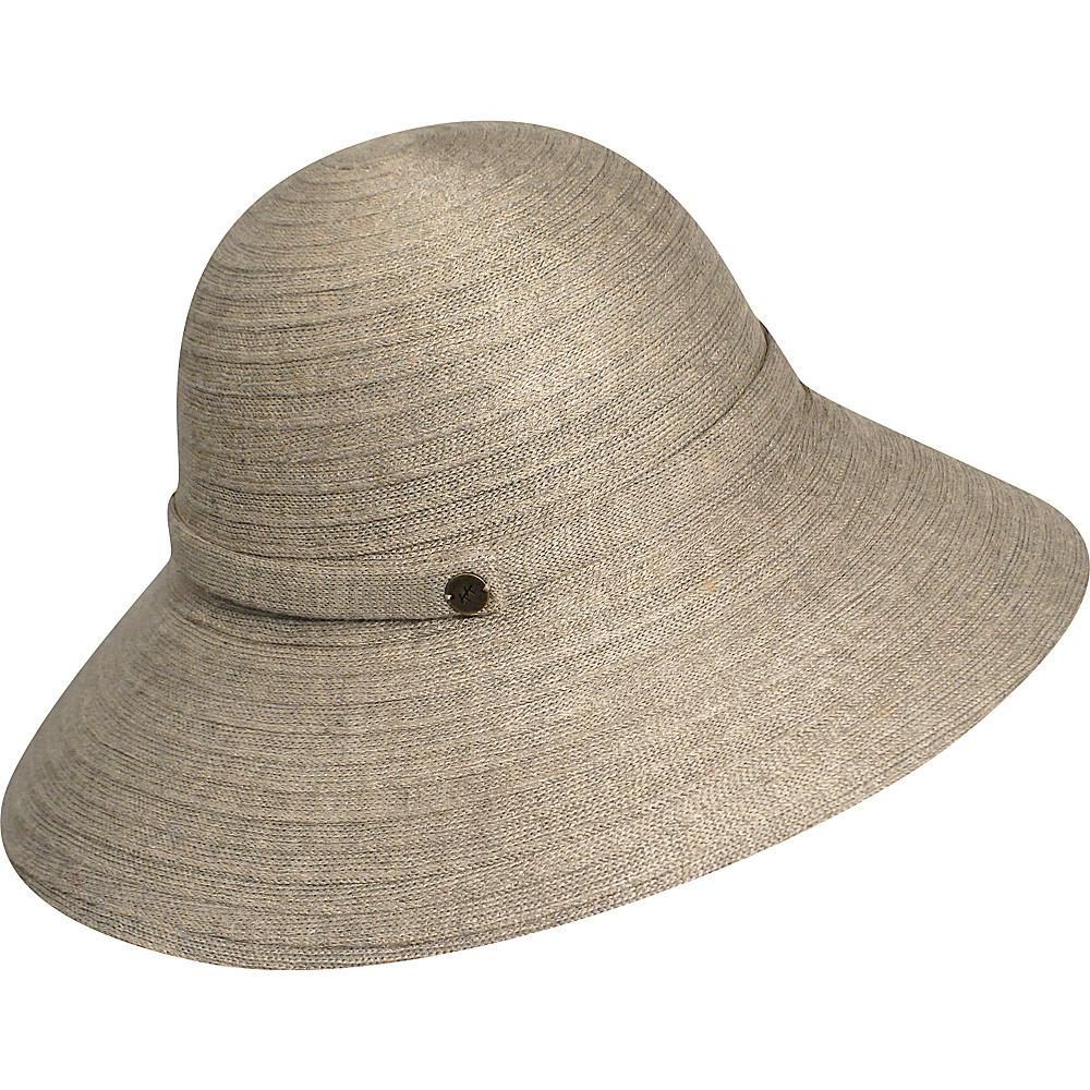 Karen Kane Hats Lux Braid Wide Brim Floppy Hat Taupe Heather Karen Kane Hats Hats Gloves Scarves