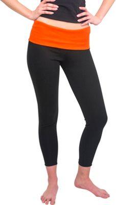 Magid Full Length Flap Over Yoga Pants S/M - Black/Orange - Large/Extra Large - Magid Women's Apparel