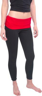 Magid Full Length Flap Over Yoga Pants L/XL - Black/Red - Large/Extra Large - Magid Women's Apparel