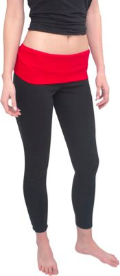 Magid Full Length Flap Over Yoga Pants S/M - Black/Red - Large/Extra Large - Magid Women's Apparel