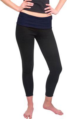 Magid Full Length Flap Over Yoga Pants S/M - Black/Blue - Large/Extra Large - Magid Women's Apparel
