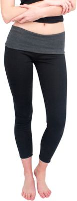 Magid Full Length Flap Over Yoga Pants L/XL - Black/Grey - Magid Women's Apparel