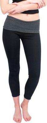 Magid Full Length Flap Over Yoga Pants 1X/2X - Black/Grey - Magid Women's Apparel