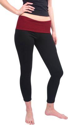 Magid Full Length Flap Over Yoga Pants 1X/2X - Black/Maroon - Large/Extra Large - Magid Women's Apparel