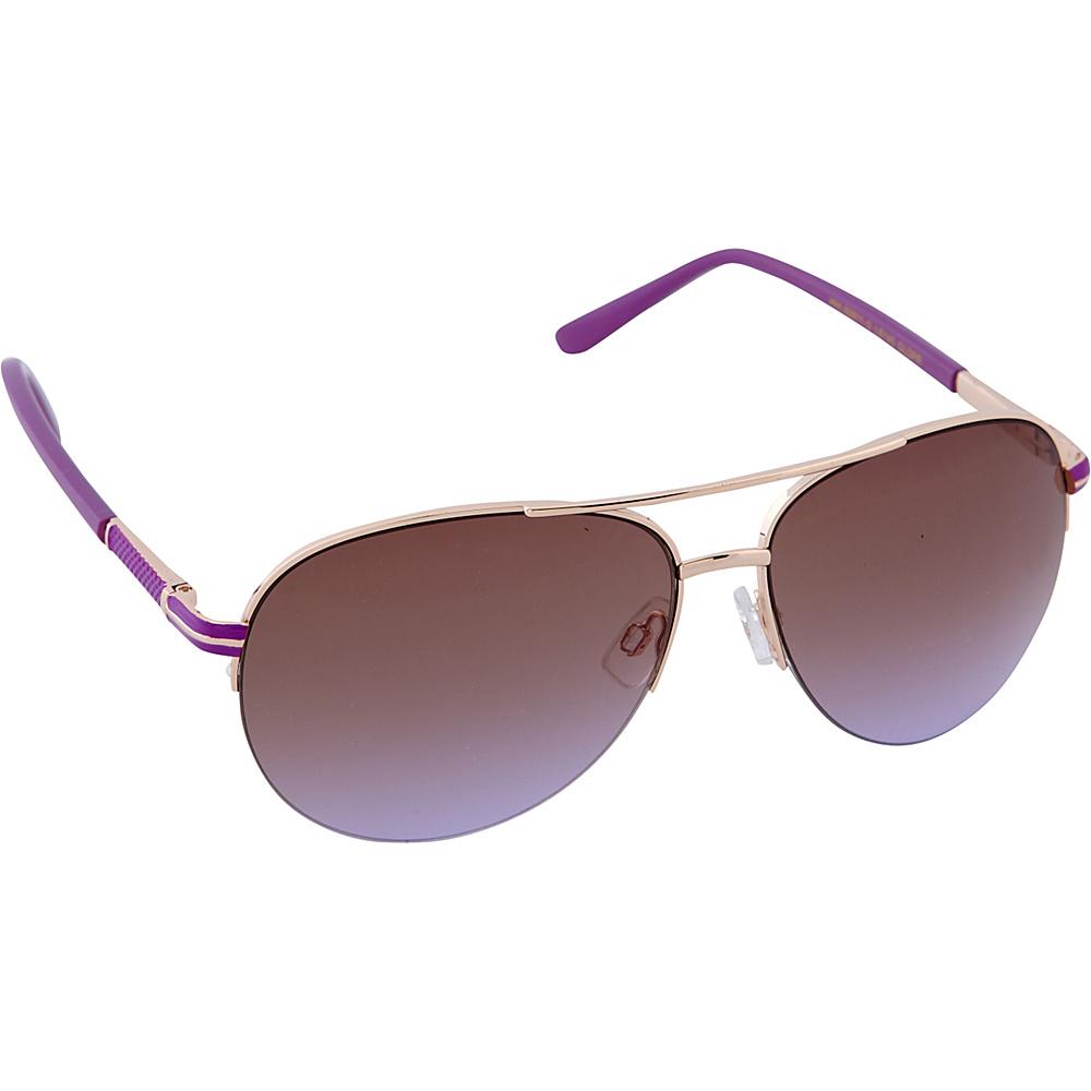 Laundry by Shelli Segal Sunglasses Semi Rimless Aviator Sunglasses Gold / Purple - Laundry by Shelli Segal Sunglasses Sunglasses