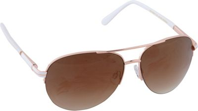 Laundry by Shelli Segal Sunglasses Semi Rimless Aviator Sunglasses Rose Gold/White - Laundry by Shelli Segal Sunglasses Sunglasses
