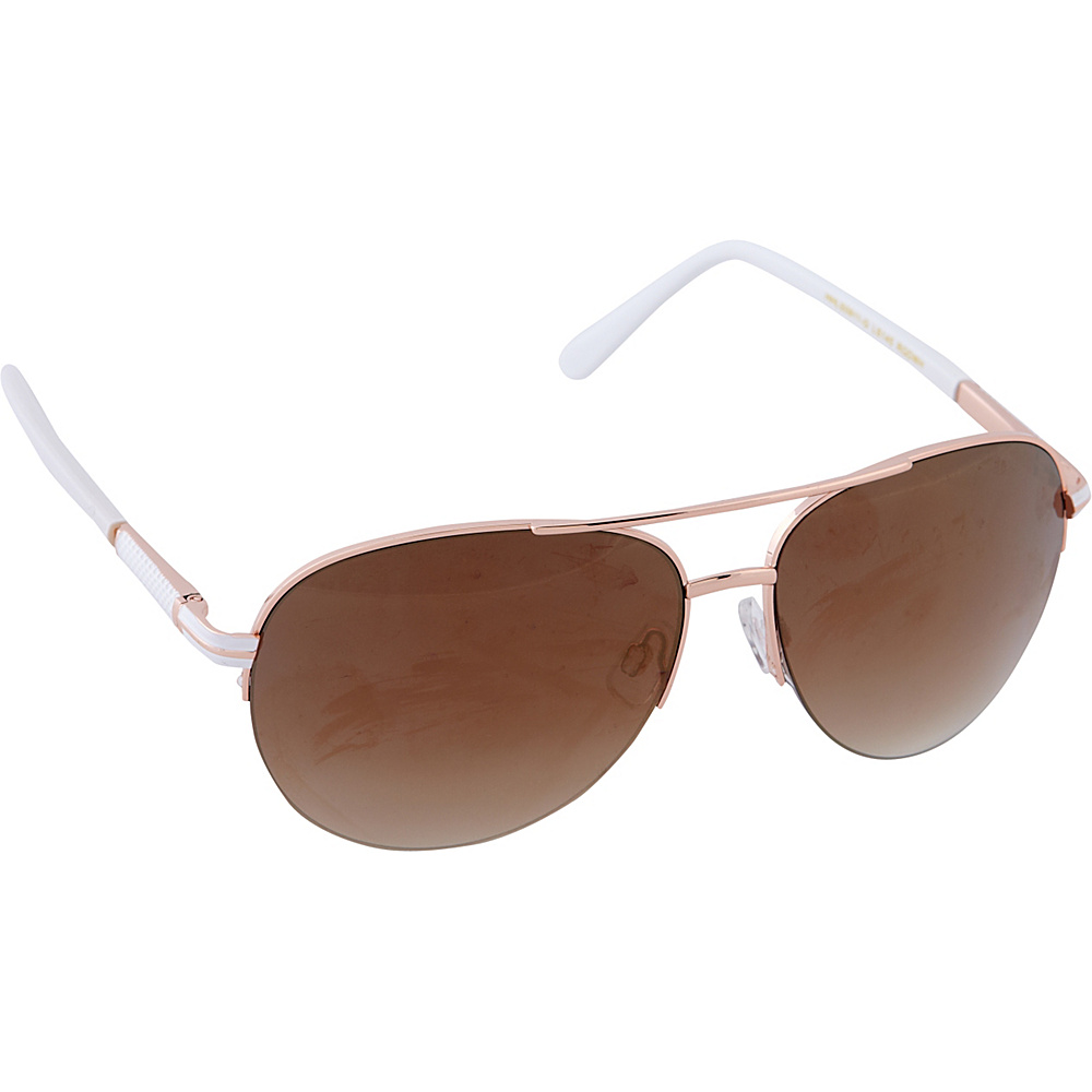 Laundry by Shelli Segal Sunglasses Semi Rimless Aviator Sunglasses Rose Gold / White - Laundry by Shelli Segal Sunglasses Sunglasses