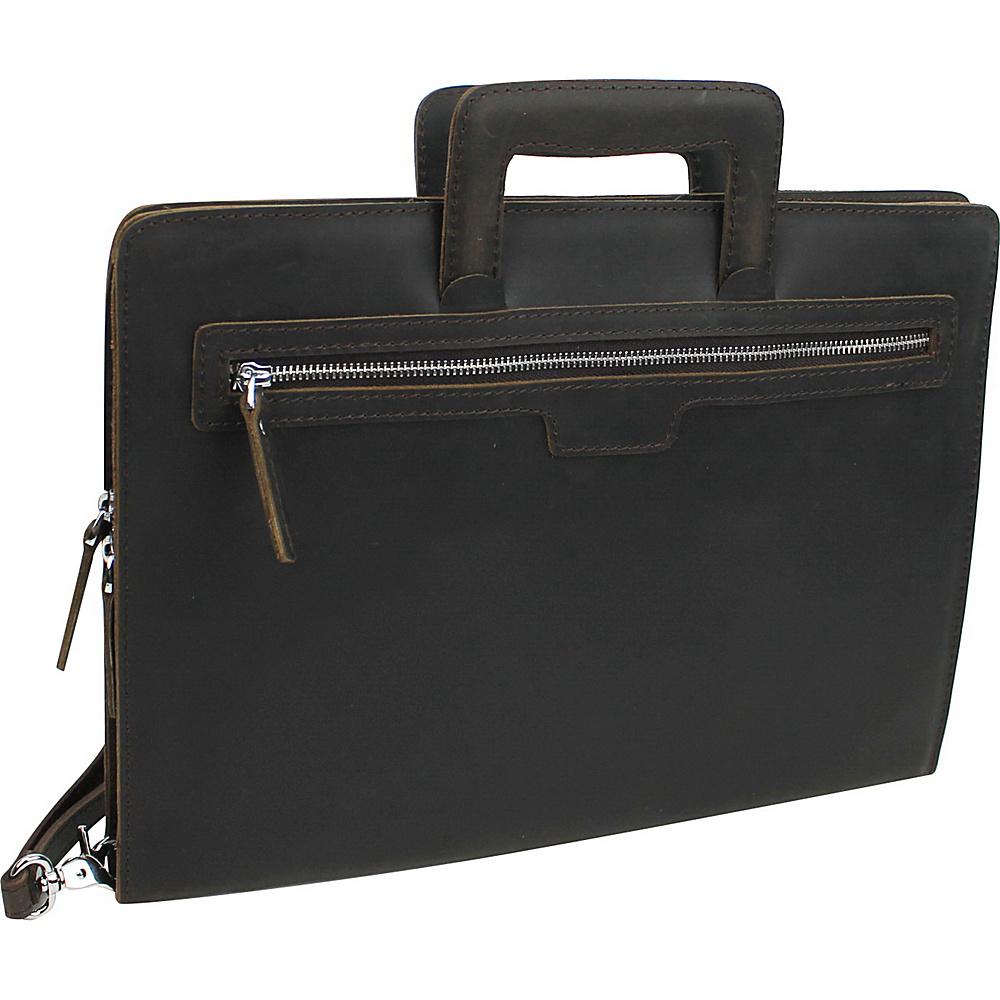 Vagabond Traveler Leather Slim Portfolio Carrying Case Dark Brown - Vagabond Traveler Business Accessories - Work Bags & Briefcases, Business Accessories
