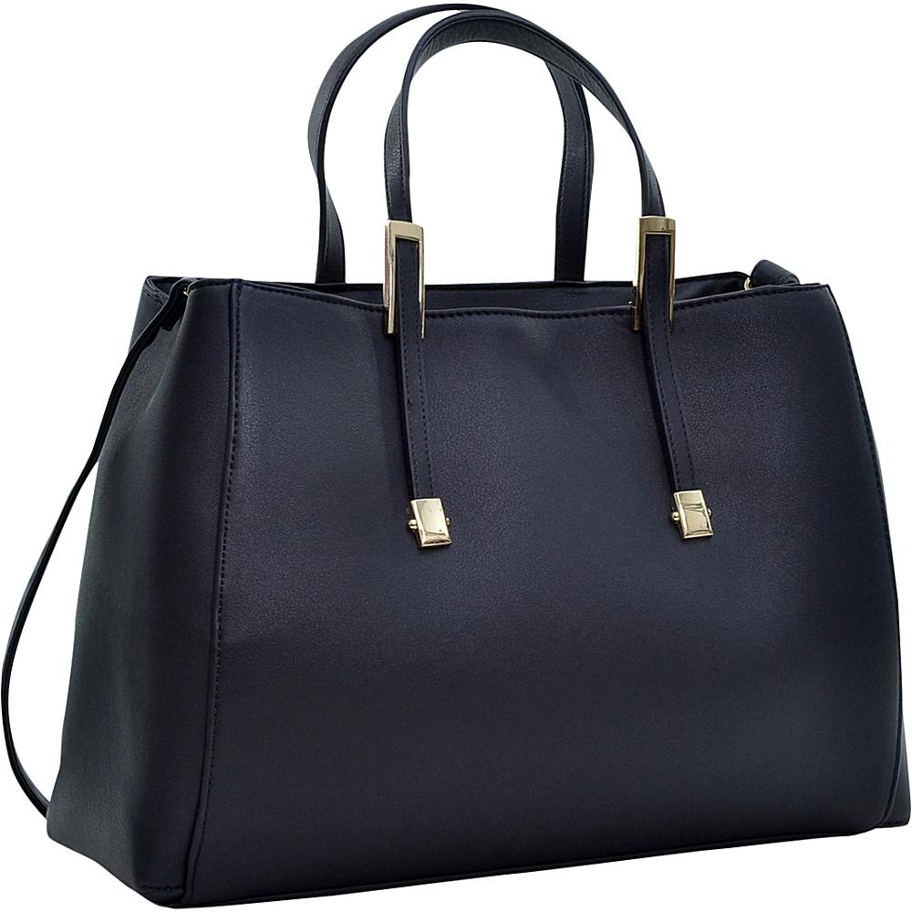 Dasein Briefcase Tote with Removable Shoulder Strap Black Dasein Manmade Handbags