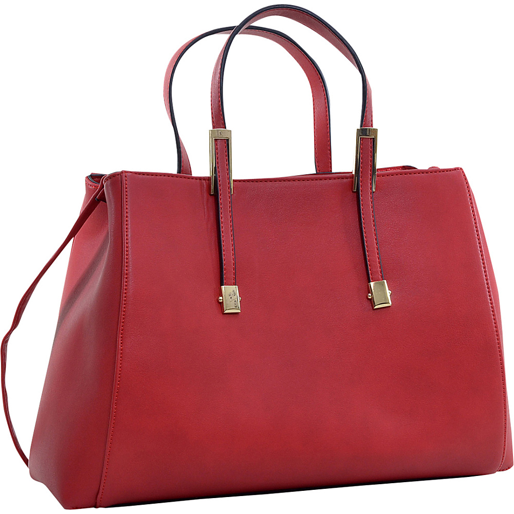 Dasein Briefcase Tote with Removable Shoulder Strap Red - Dasein Manmade Handbags
