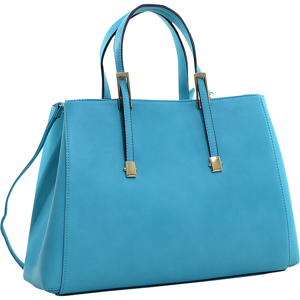 Dasein Briefcase Tote with Removable Shoulder Strap Turquoise - Dasein Manmade Handbags