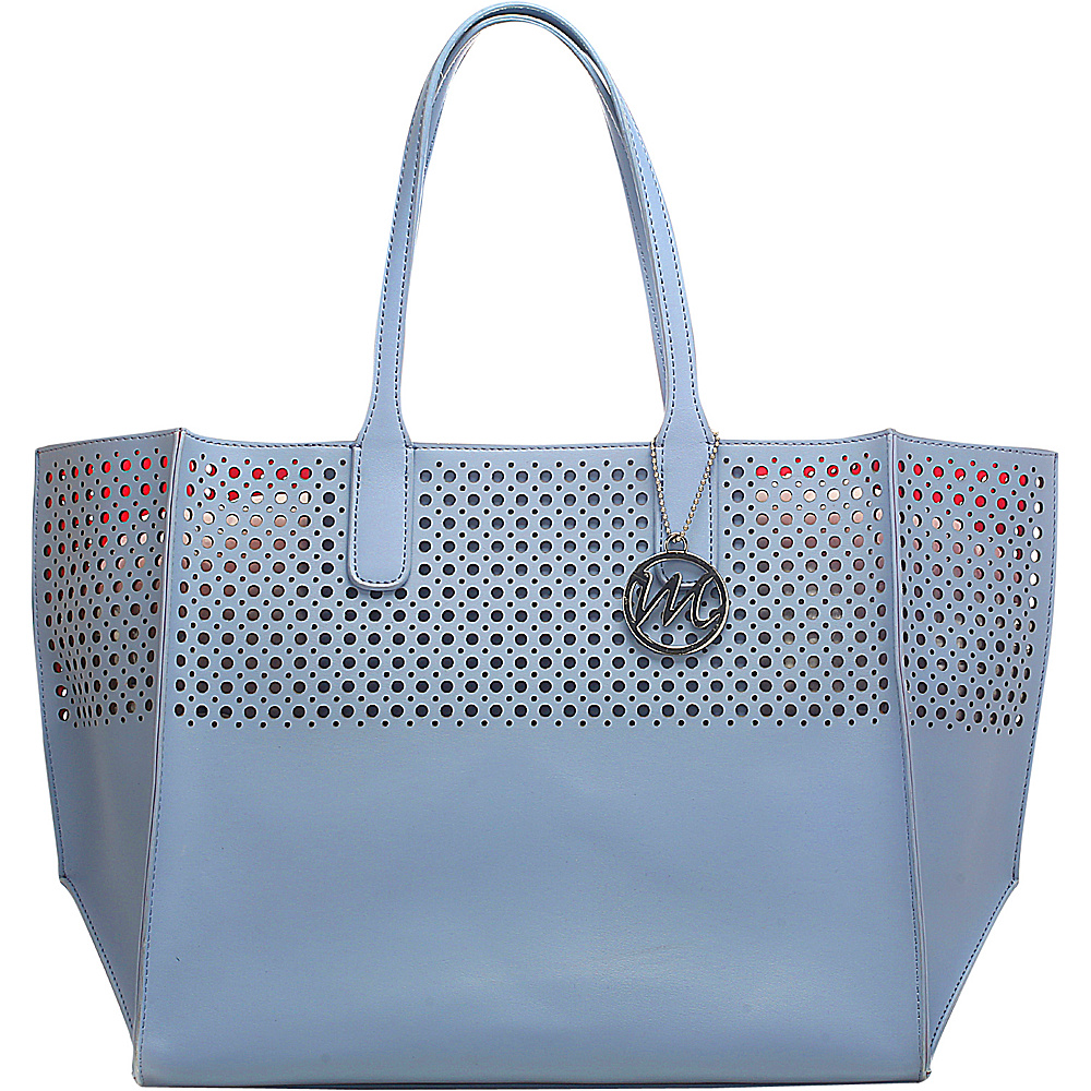 Emilie M La Mar Perforated Beach Tote Sky Blue - Emilie M Manmade Handbags