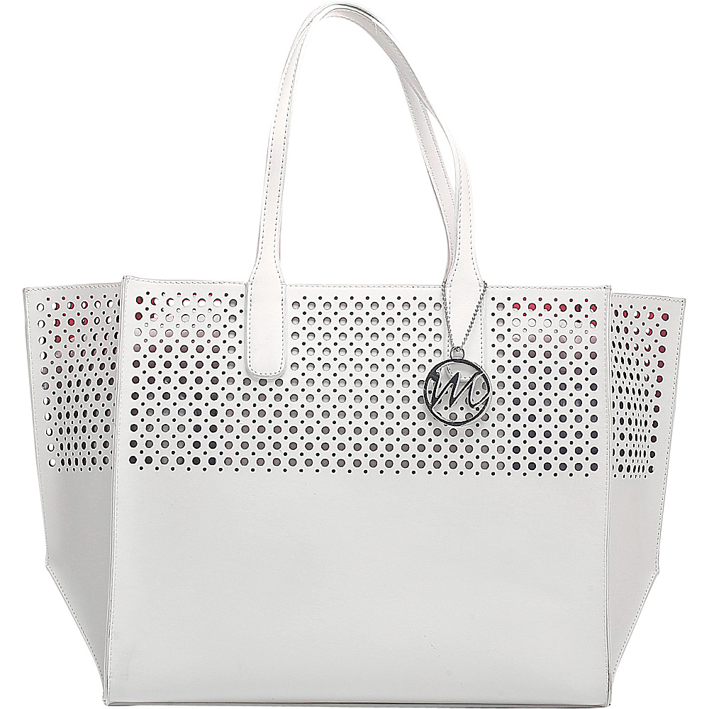 Emilie M La Mar Perforated Beach Tote White - Emilie M Manmade Handbags