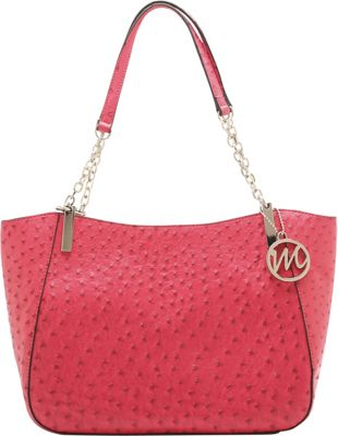 Emilie M Nancy Ostrich Chain Shoulder Bag Azalea Pink - Emilie M Manmade Handbags