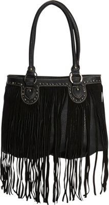 Montana West Fringe Tote Black - Montana West Manmade Handbags
