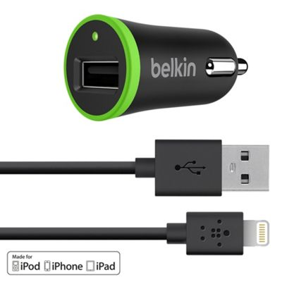 Belkin Car charger with Lightning to USB Cable - 4ft Black - Belkin Electronic Accessories