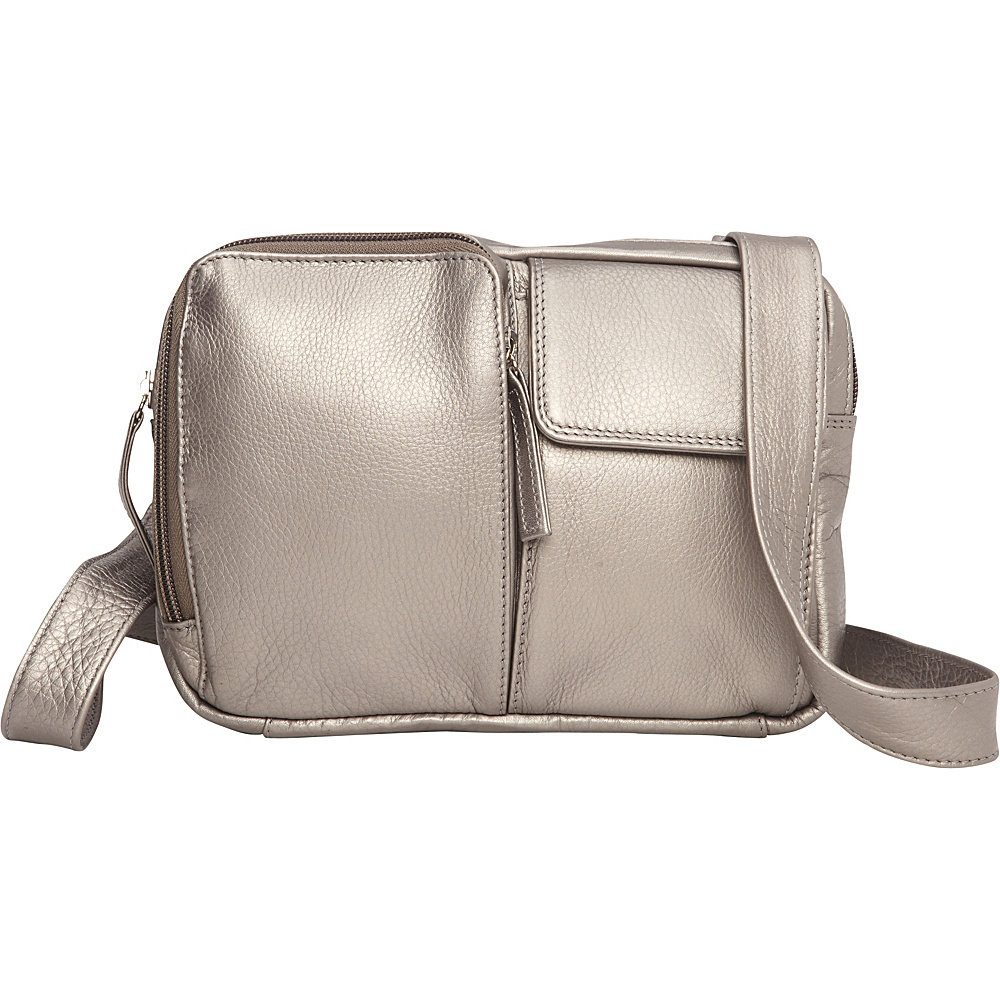 Derek Alexander Two Top Zip w/ Organizer Crossbody Silver - Derek Alexander Leather Handbags - Handbags, Leather Handbags